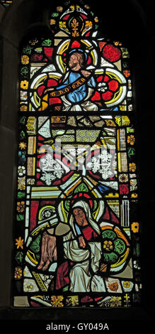 St Wilfrids Church Grappenhall-  West Window stained glass Detail, Warrington - Stock Photo