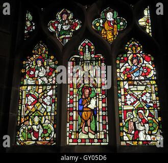 St Wilfrids Church Grappenhall- Original Stained Glass West Window, Warrington - Stock Photo