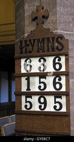 St Wilfrids Church Grappenhall- Hymn Numbers, Warrington Cheshire - Stock Photo