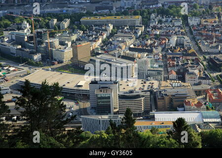 View over the city centre of Bergen from Mount Floyen, Norway - Stock Photo