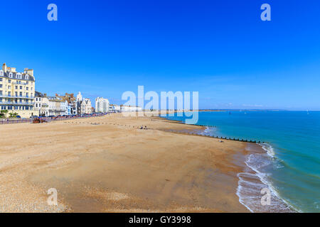 Eastbourne beach and seaside promenade from the Pier, Eastbourne, East Sussex - Stock Photo