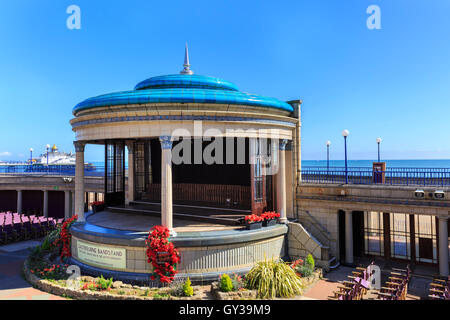 The restored Eastbourne Bandstand, a summer concert venue on the colonnade in Eastbourne, East Sussex, England - Stock Photo