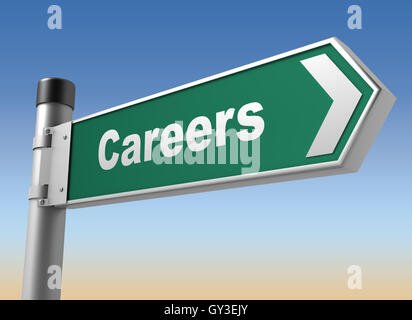 careers road sign 3d illustration - Stock Photo