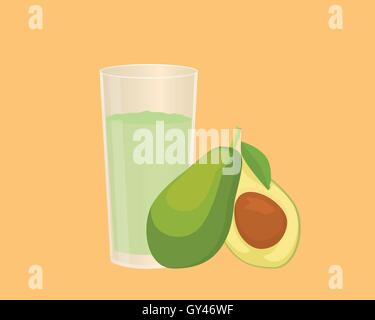 avocado smoothie with fruit and a glass of the smoothies with flat style - Stock Photo