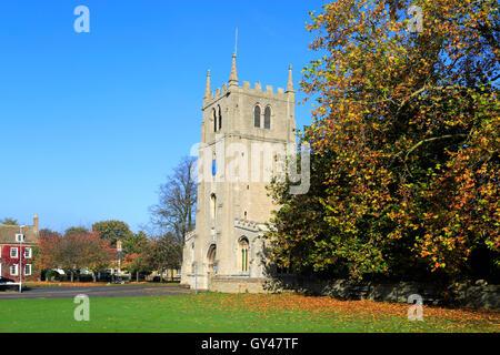 Autumn, St Thomas a Becket Church, Ramsey village; Cambridgeshire; England; UK - Stock Photo