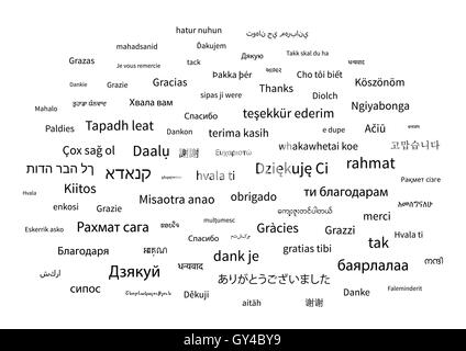 Thanks phrase in different languages of the world on white background - Stock Photo