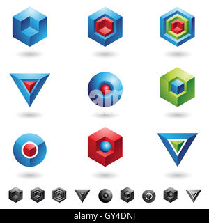 Spheres, Cubes, triangles and three dimensional shapes - Stock Photo