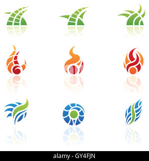 various nature elements icons, isolated - Stock Photo