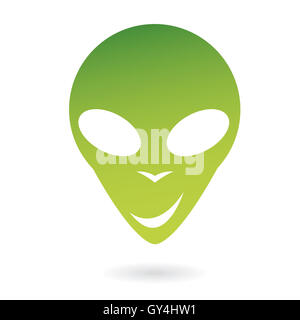 Green  alien isolated on white - Stock Photo