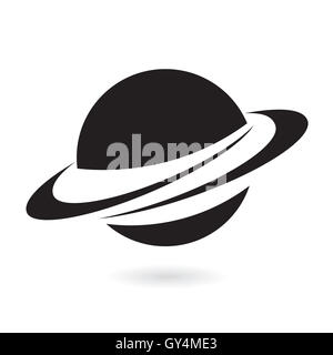 Black planet isolated on white - Stock Photo