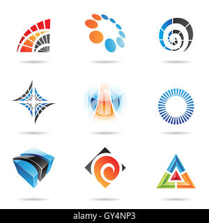 Various colorful abstract icons isolated on a white background - Stock Photo