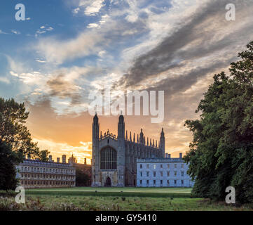 Dawn over King's College Chapel, Cambridge, UK - Stock Photo