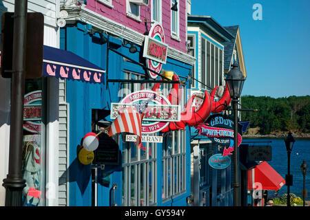 signs along Main Street in Bar Harbor, Maine, USA