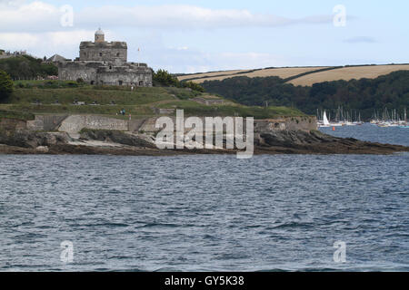 St Mawes Castle Cornwall from the sea - Stock Photo