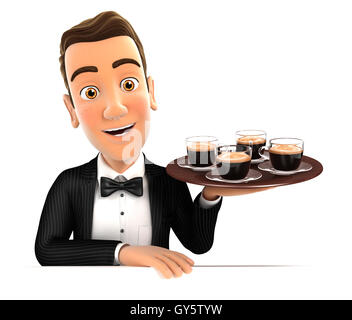 3d waiter holding four cups of coffee, illustration with isolated white background - Stock Photo
