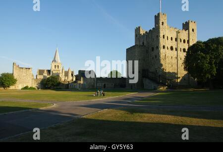 Rochester Castle and cathedral, Kent - Stock Photo
