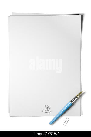 Blank page with blue fountain pen and paperclips at the bottom right angle of the sheet, top view and portrait orientation. - Stock Photo