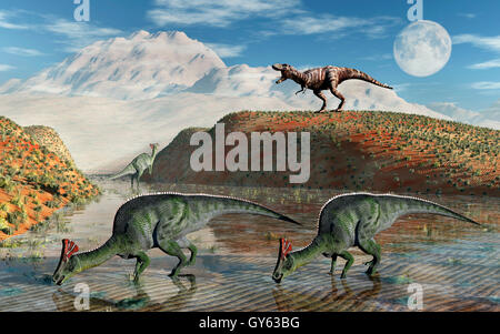 Orolotitan Dinosaurs Being Stalked By A T.Rex. - Stock Photo