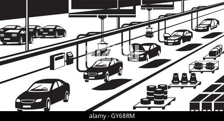 Car assembly line - vector illustration - Stock Photo