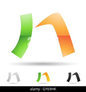 Vector illustration of abstract icons based on the letter N - Stock Photo
