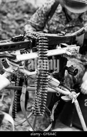 Machine Gun with Ammunition Clip Black and White - Stock Photo