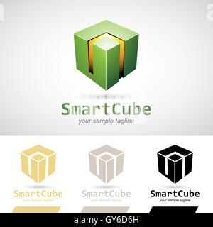 Green Shiny 3d Cube Logo Icon Vector Illustration - Stock Photo