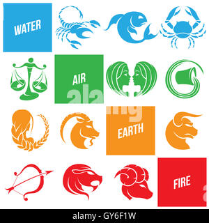 Vector Illustration of Colorful Zodiac Star Signs - Stock Photo
