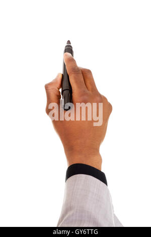 Male hand with pen trying to write on coppy space. - Stock Photo