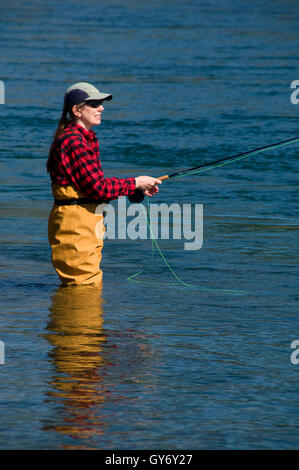 Flyfishing on McKenzie River, Power Canal EWEB Access Site, Lane County, Oregon - Stock Photo