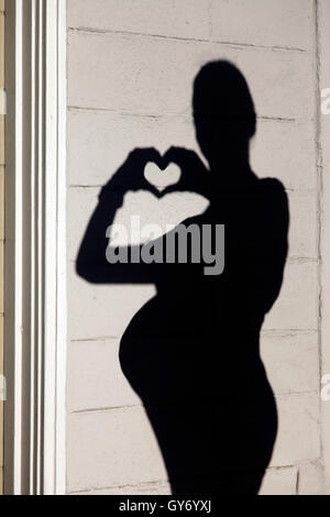 Silhouette of a pregnant woman - Stock Photo