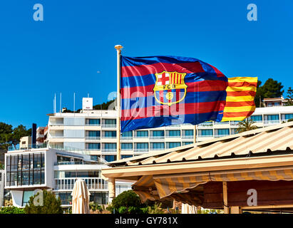 Waving flag of FCB - Stock Photo