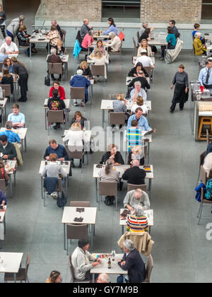 Lunchtime diners eat at the New American Cafe at the Boston Museum of Fine Arts. - Stock Photo