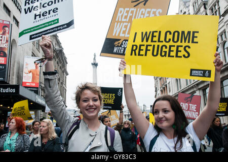 London, UK. 17th Sept, 2016. Thousands march through Central London urging the government to take more action in - Stock Photo