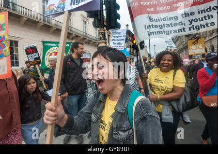 London, UK. 17th September 2016. Movement for Justice supporters march with their banner to Parliament Square in - Stock Photo