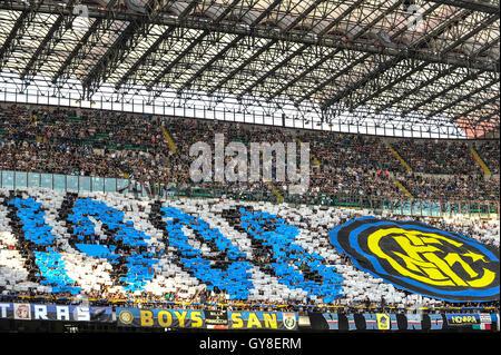 San Siro Stadium, Milan, Italy. 18th Sep, 2016. Inter Supporters at the start of Italian Serie A League Football. - Stock Photo
