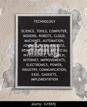 Technology concept in plastic letters on very old menu board - Stock Photo