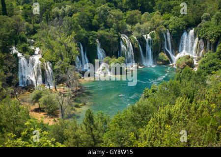 The Trebižat river and spectacular Kravice waterfalls in the vicinity of Ljubuški (West Herzegovina, Bosnia and - Stock Photo