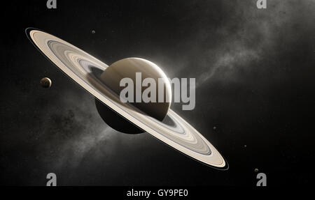Planet Saturn in deep space with major moons according to scale (Elements of planet texture for 3d render furnished - Stock Photo