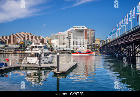 Australia, New South Wales, Sydney, Darling Harbour, view of the Harbourside complex and Pyrmont Bridge - Stock Photo