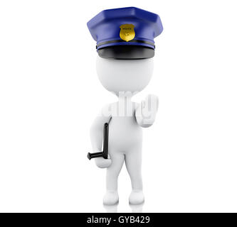 3d renderer image. Policeman ordered to stop with hand. Isolated white background. - Stock Photo