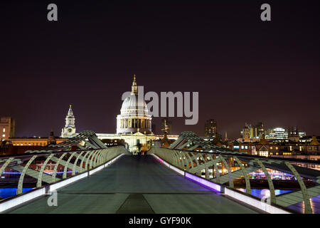 The Millennium Bridge and St Paul's Cathedral - Stock Photo