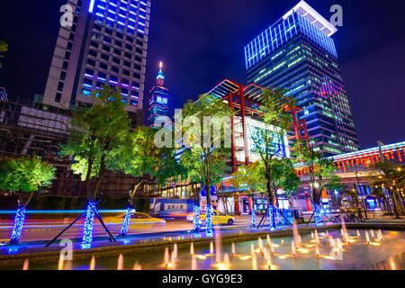 Office buildings in downtown Taipei in the Xinyi District. The district is the prime shopping area of Taipei. - Stock Photo