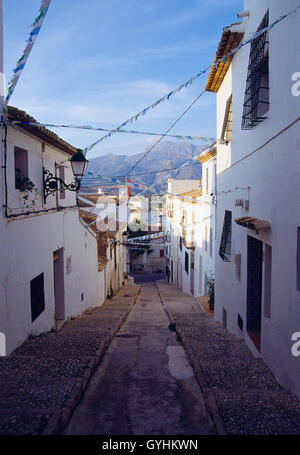 Street in the old town. Altea, Alicante province, Comunidad Valenciana, Spain. - Stock Photo