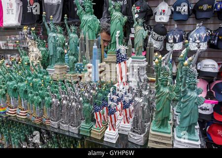 New York, NY, NYC, New York City, Manhattan, Midtown, Times Square, gift shop, souvenirs, figurine, shopping shopper - Stock Photo