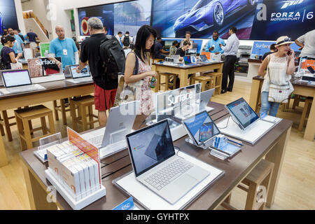 Manhattan New York City NYC NY Midtown Fifth Avenue shopping Microsoft retail business chain store consumer electronics - Stock Photo