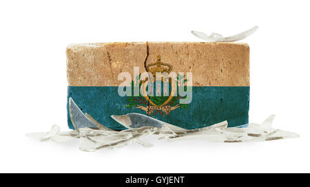 Brick with broken glass, violence concept - Stock Photo