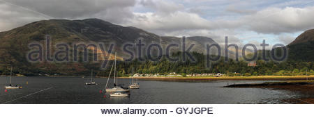 A panoramic image of Loch Leven from the village of Ballachulish near Glencoe - Stock Photo