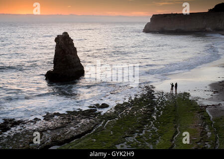 Pacific Ocean sunset from San Vicente Creek, Davenport, California, USA - Stock Photo