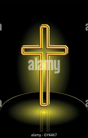 Christian Cross Vector, cross on a yellow background , - Stock Photo