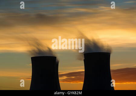The cooling towers at night, nuclear power generation plant, Temelin, Czech Republic - Stock Photo